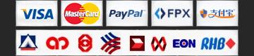 Visa, MasterCard, Paypal, Alipay, Malaysia Local Banks
